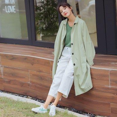 風衣 外套 長款大衣-廓型寬鬆翻領純色女外套2色73ue15[獨家進口][米蘭精品]