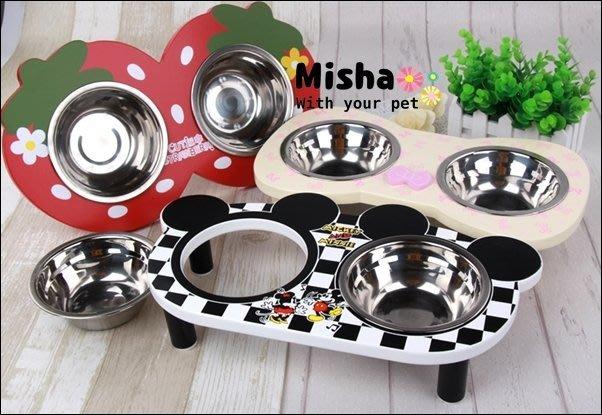 ✿ Misha ✿ 可愛木製餐架 寵物專用餐桌 貓狗適用 雙碗 寵物碗盤飼料 小雞小老鼠 可愛五色新上市 預【滿千免運】
