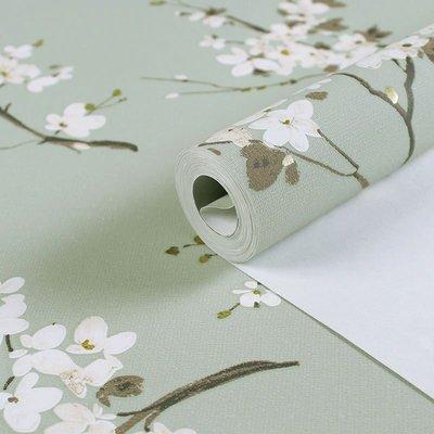 新中式梅花枝田園無紡布壁紙素色復古風格臥室客廳書法工程墻紙裝飾翻新壁紙