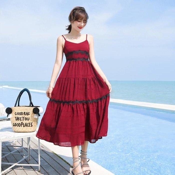 雪紡度假洋裝 海邊度假裙三亞沙灘裙中長款顯瘦吊帶雪紡連身裙