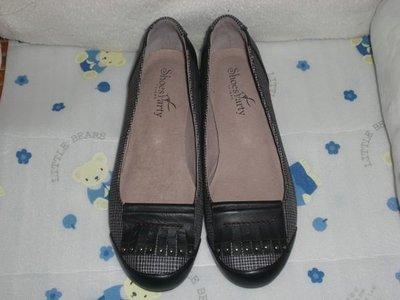 ☆甜甜妞妞小舖 ☆ 專櫃正品 Shoes Party  黑色經典格紋鞋..圓頭低跟包鞋上班鞋---23.5號