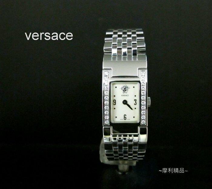 【摩利精品】Versace 凡賽斯ASQ小方真鑽女錶   *真品* 低價特賣中