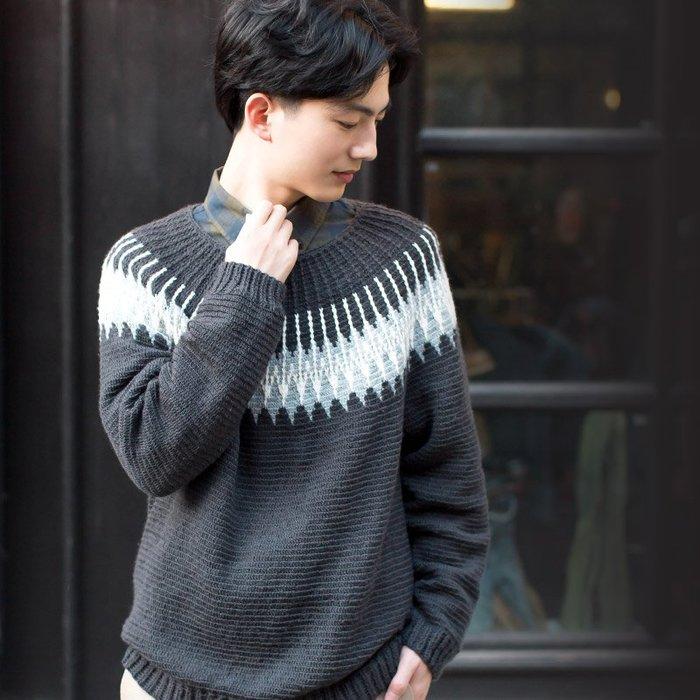 聚吉小屋 #蘇蘇姐家費爾島圓育克鉤針男士毛衣 手工毛線團鉤棒針編織秋冬