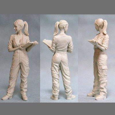 白模需要自行上色1/20樹脂人物模型現貨包郵日本GK女技術員白模手辦R41