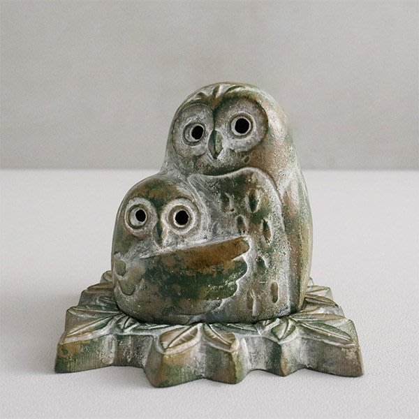 日本高岡銅器 依偎貓頭鷹 香爐 精緻工藝品 手工鑄鐵 日本原裝進口