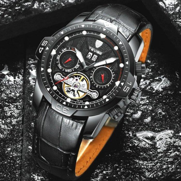 新款 TEVISE 特威斯正品 酷炫潮流時尚 真三眼陀飛輪岩石質感面盤 夜光 真皮星期自動機械錶男錶【S & C】