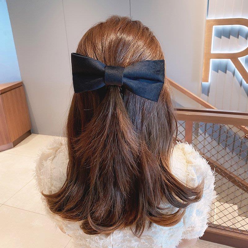 花姑子的賣場復古黑色絲絨蝴蝶結髮夾法式大號彈簧夾頂夾韓國少女馬尾髮卡頭飾