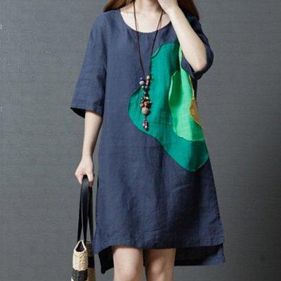 文青棉麻洋裝 寬鬆圓領暈染五分袖連身裙 艾爾莎 【TGK7483】