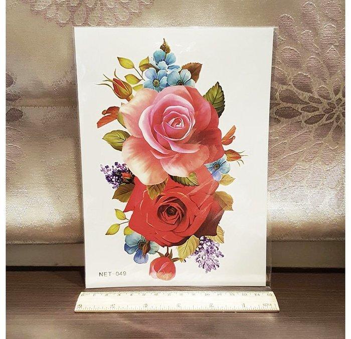【萌古屋】紅粉玫瑰手臂大圖 - 男女防水韓風簡約紋身貼紙刺青貼紙K32