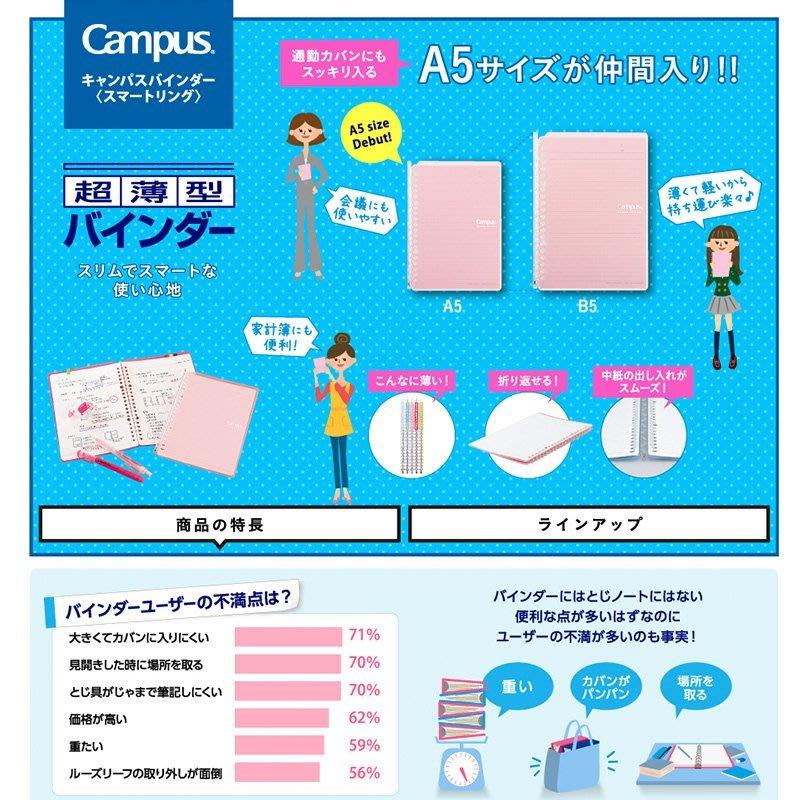 日本進口國譽smarting活頁本 超薄可全拆卸 B5筆記本子活頁夾帶環