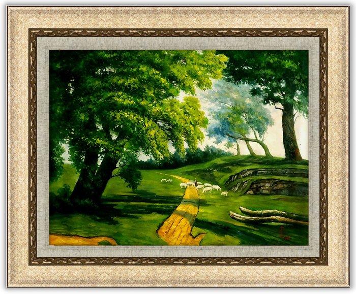藝術之都~手繪創作油畫~放牧~完成作品 實品拍攝 含實木框可懸掛  李清太