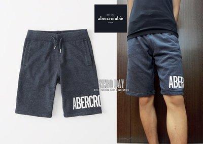 零時差美國a&f真品abercrombie&fitch logo pull-on fleece shorts短棉褲-深藍