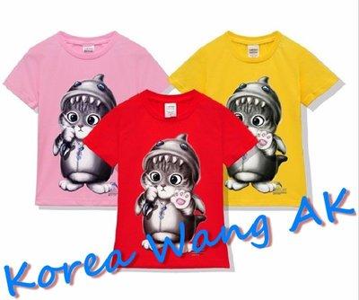 Korea Wang AK ~(預購)台灣原創獨家設計 美國100%純棉 限定版 鯨魚貓兒童青少年版T 六款【P037】