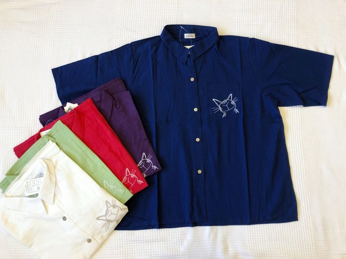 日本卡拉貓~貓老大抗菌純棉五分袖襯衫