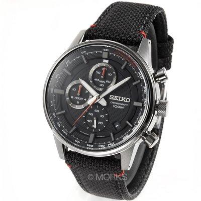 現貨 可自取 SEIKO SSB315P1 精工錶 42mm 黑色面盤 三眼計時 日期視窗 黑色帆布錶帶 男錶女錶