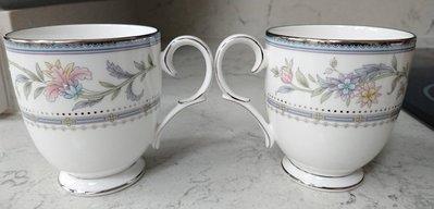 Noritake 銀邊骨瓷馬克對杯 2杯一組 咖啡杯 茶杯