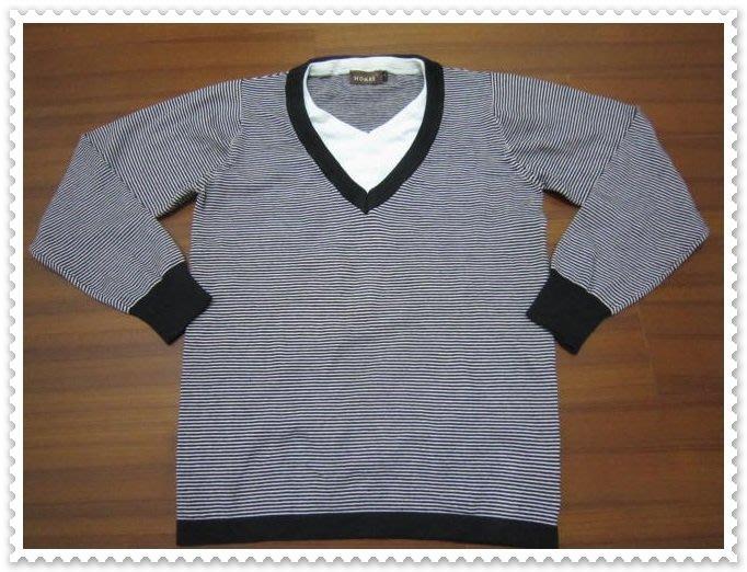 五一元起標 無底價 二手【HOMME】V領 假兩件式 橫條紋 長袖 尺寸2號  - E22