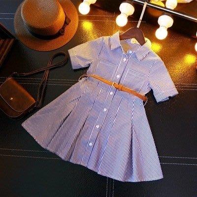 [C.M.平價精品館]130現貨/氣質藍白條紋襯衫領短袖洋裝 附腰帶