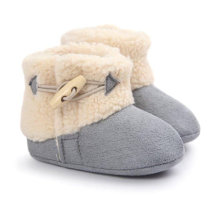森林寶貝屋~灰色時尚雪鞋~學步鞋~保暖鞋~寶寶鞋~嬰兒鞋~學走鞋~魔術貼+扣子~保暖舒適~彌月贈禮~特價135元