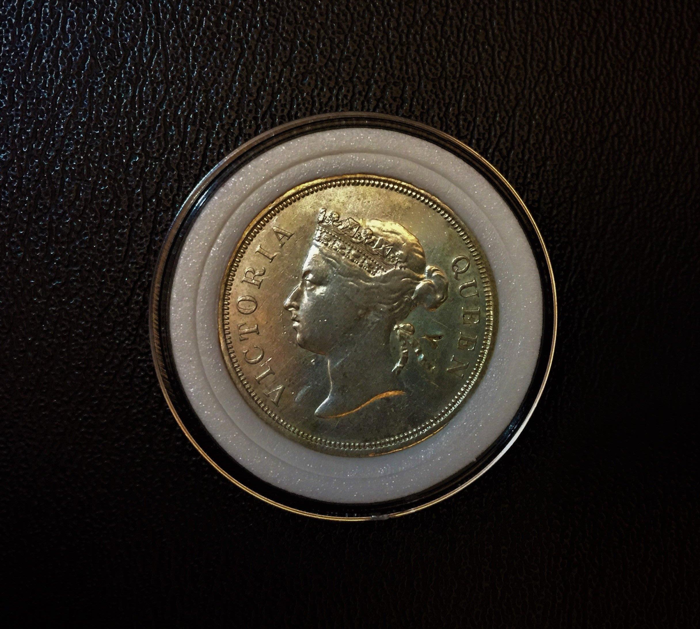 極度稀少 1887 年份 英屬 海峽殖民地 維多利亞 女王 50 分 Cents 銀幣 原光 美品 有驗銀搓記