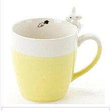 萌貓小店 日本直送-日本製兔陶瓷杯よりそいマグうさぎ イエロー