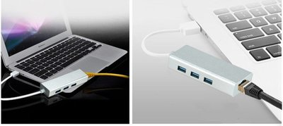 品名: 環保包裝USB千兆網卡USB 3.0 HUB RJ45網線轉接頭適用於平板筆記型電腦(顏色隨機) J-14421