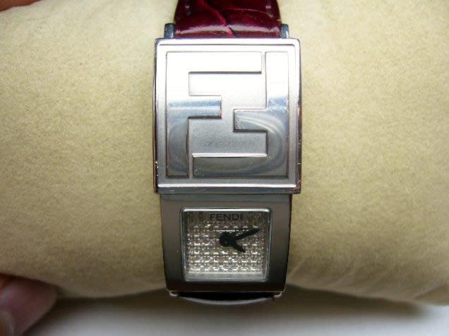 [吉宏精品交流中心]FENDI 芬迪 滿天星 原鑲鑽石 滑蓋 皮帶 石英 女錶