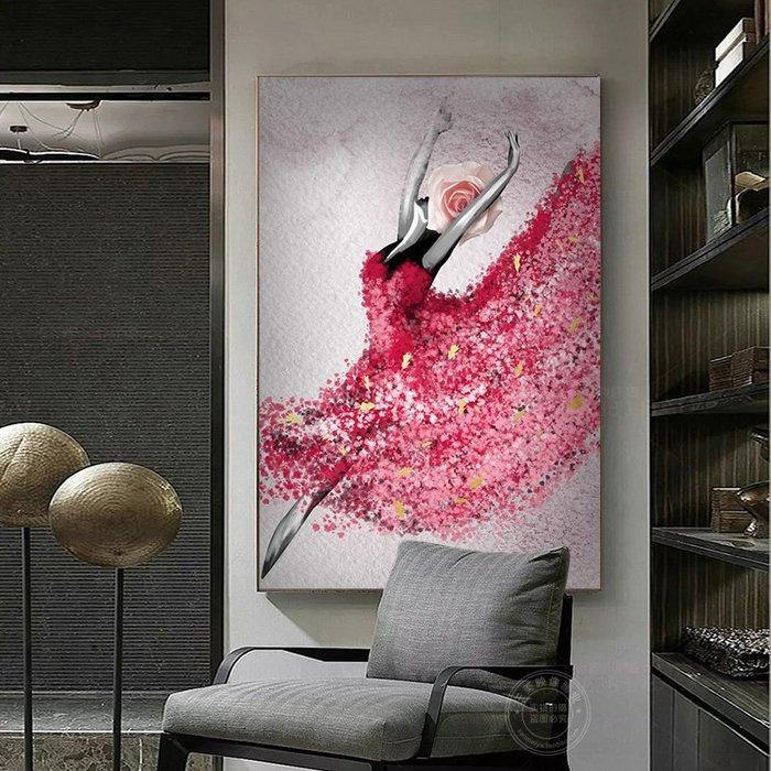 抽象油畫美女芭蕾舞者藝術裝飾畫會所巨幅現代掛畫美容院客廳壁畫(3款可選)