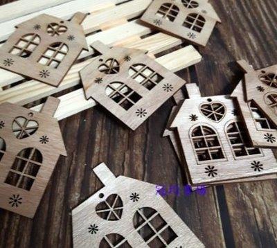 雙窗房屋木片/蝶古巴特 Decoupage 拼貼 帆布袋 木器 彩繪 胚布 DIY 黏土 手作