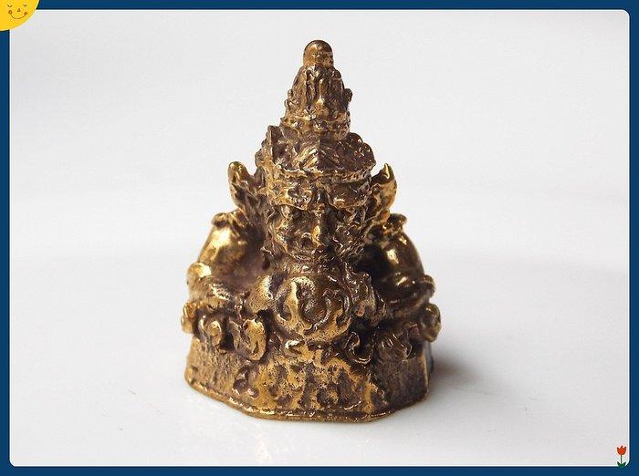 【雅之賞|藏傳|佛教文物】*特賣* 尼泊爾 銅製 招財龍王手工小佛像~Q1367