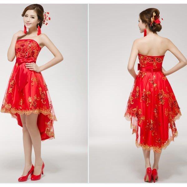 5Cgo 【鴿樓】會員優惠 8814209221 夏新款新娘前短後長連衣裙結婚紗 蕾絲紅色敬酒服 小禮服裙女