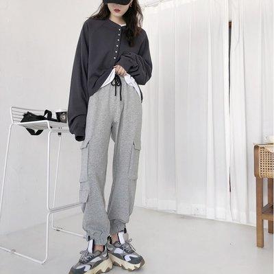 ☆ANGELA HOUSE☆韓單  時尚工裝 ~韓國範休閒BF風口袋束口休閒褲  ✅   (追加)