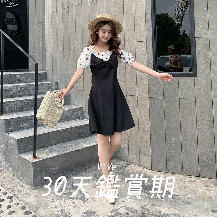 實拍 S-M 洋裝 黑色 雪紡 小黑裙 夏季 韓版 愛心 連衣裙 中裙 赫本風 撞色 新款 26018E