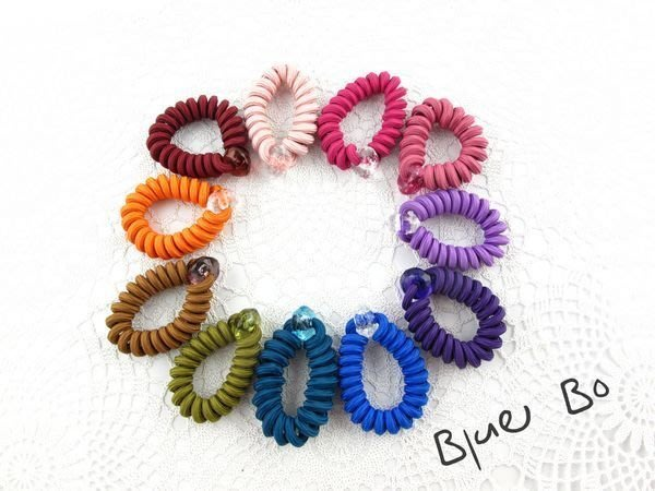 ~*BlueBo*~ 韓國飾品    素面純色電話線髮束  橡皮筋/大腸圈/髮飾/綁綁
