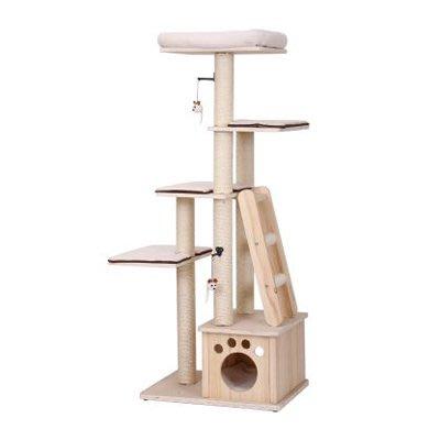 【李小貓之家】美國Petpals《 天然原木系列多功能跳台-5層 PP-6512》天然原木結合絨布坐墊,天然環保材/貓跳