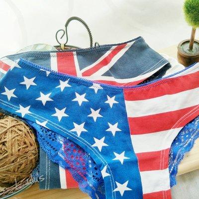 國旗低腰內褲 ❉︵ 個性復古風美英國旗 蕾絲拼接低腰內褲 ︵❉ 。Lets Go lulus。AC73