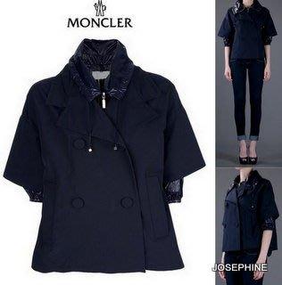 喬瑟芬【MONCLER】現貨~2012早春新款 法國羽皇ARMELLE 深藍*780雙層雙料A字 雙排釦風衣外套夾克