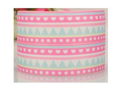 手作材料 手工 DIY材料 38mm  羅紋織帶 印刷羅紋帶 織帶 包裝絲帶織帶 蝴蝶結包裝 愛心點點 粉
