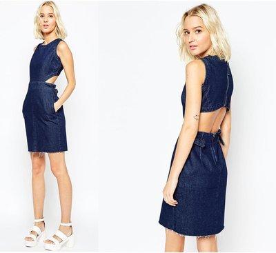 (嫻嫻屋) 英國ASOS新品-時尚名模 Cut Out Back微露纖腰合身藍色口袋牛仔洋裝 現貨UK8