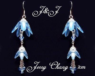 J&J精品~花間精靈珠寶編織水晶琉璃花墬耳環~水藍款