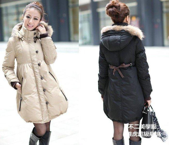 【格倫雅】~秋冬女羽絨服女羽絨衣中長款羽絨服 修身型帶毛領羽絨外45858[g-l-y34