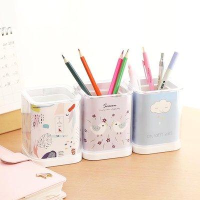 【暖暖居家】優湃 加厚亞克力方形筆筒創意時尚 正韓小清新學生辦公桌面收納盒-NNJZ8182