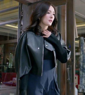韓國空運連線 談判官楊冪童薇同款黑色短款皮衣女夾克韓版寬鬆外套2018春季新款 修身顯瘦挑高短款氣質皮外套 黑衣天使