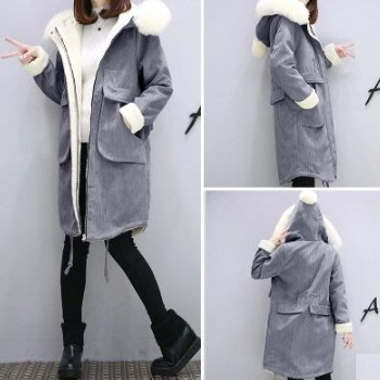 韓版冬季女新款灯芯绒寬鬆加厚中長款棉服外套4色100z59