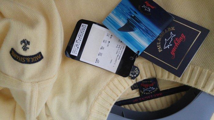 全新專櫃購買 Paul & Shark 檸檬黃 素面船錨刺繡Logo長袖毛衣