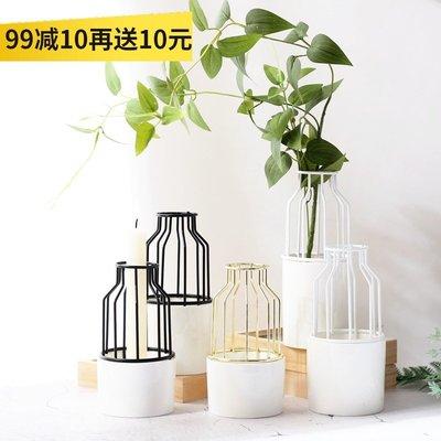 千禧禧居~【山樹】 ins家居金屬鐵藝陶瓷小花瓶 裝飾花器