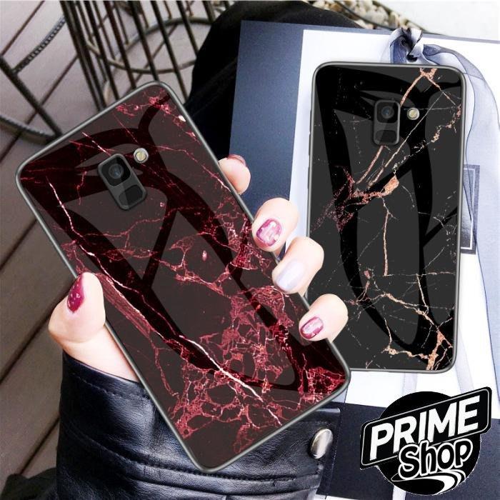 Prime Shop 三星S9 A6 PLUS大理石鋼化玻璃手機套保護殼軟邊石頭圖案 J6 J4 PLUS PRIME