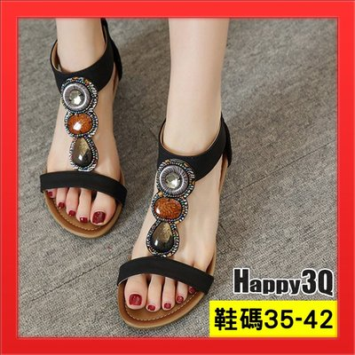 民族風大尺碼涼鞋40波西米亞風低跟42粗跟女鞋子加大-黑/藍/杏35-42【AAA4866】