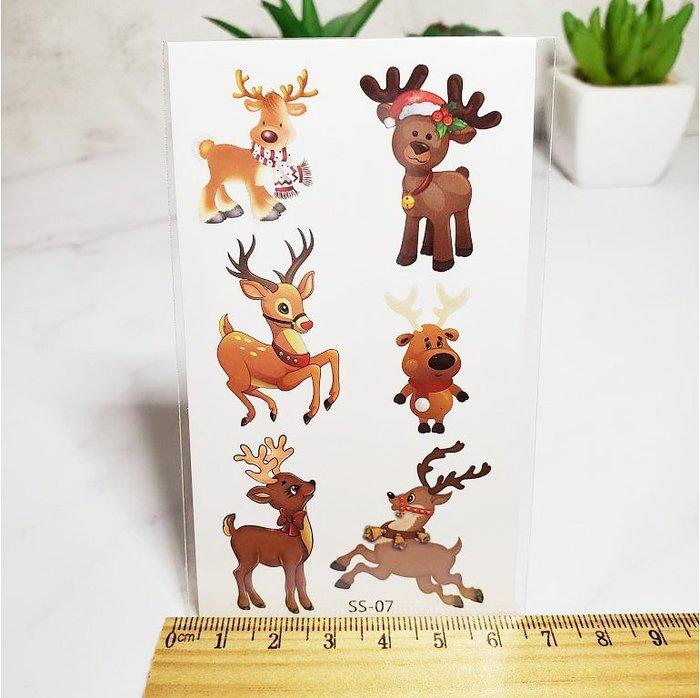 【萌古屋】聖誕節卡通麋鹿 - 兒童防水紋身貼紙刺青貼紙SS-07