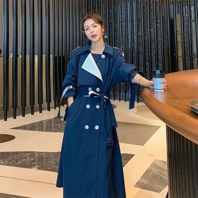 風衣 大衣 長版外套-翻領撞色雙排扣繫帶女外套2色73yt39[獨家進口][米蘭精品]